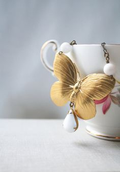 The Lovely Wild Golden Butterfly Necklace by EclecticOrchid, $35.00