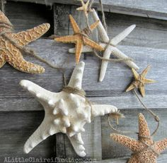 Create a beachy starfish garland easily! By A Little Claireification featured on I Love That Junk