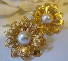 Vintage Napier Gold & Pearl Center Earrings