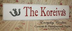 Custom Family Sign YOUR COLOR CHOICE Hand Painted Wedding Sign Personalized with Horseshoe