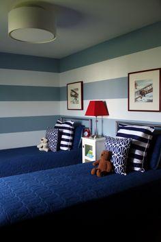 Striped wall for big boy room!