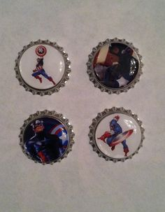 Captain America Bottle Cap Magnets  Set of 4 by WhimsyWoodcrafts, $4.50