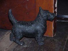 Antique Victorian Scottie Dog Doorstop Figure With Glass Eyes
