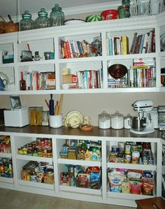 Pantry with countertop for small appliances such as the Kitchenaid mixer, blender, crockpot and food processor.