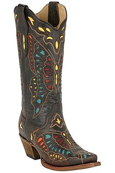 Corral Ladies Chocolate w/ Multicolored Inlay Butterfly Snip Toe Western Boot butterfli, cowgirl boots, cowgirls, cowboy boots, boot obsess, bit countri, countri girl, western boots, color cowgirl
