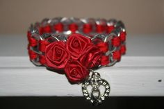 Aids Awareness Soda Tab Bracelet W/ Heart & Hope Charm