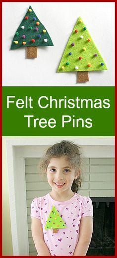 Easy #Christmas Crafts for Kids: Felt Christmas Tree Pin - Buggy and Buddy
