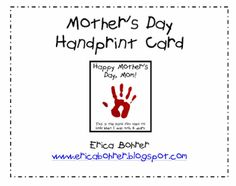 Free - Mother's Day Project and Mother's Day Handprint Card