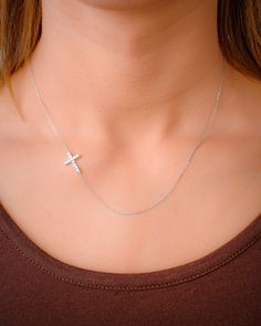 Sideways Cross Necklace Small Sterling Silver by AnoushkaDesigns