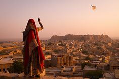 Girl With Kite, India  Photograph by Simon Christen