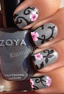 #Silver #glitter #black #flower #pink #pinkflower #metallic  #nails DIY NAIL ART DESIGNS