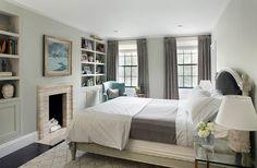 decor, grey bedrooms, small bedrooms, guest bedrooms, fireplac, window treatment, master bedroom built ins, master bedrooms, bedroom palett