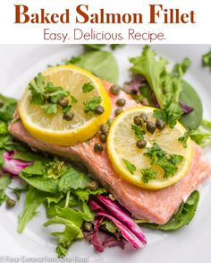 "One of our fish dishes for our Christmas Eve ""Feast of the Seven Fishes"" celebration - Baked Salmon Fillet that anyone can make. Simple & easy recipe. Four Generations One Roof.com @Gayle Roberts Merry Homes and Gardens"