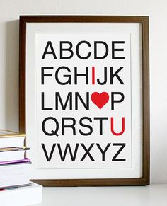 I Love You Alphabet   A3 Print by Posterinspired on Etsy, $18.00