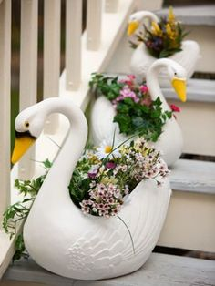 Cottage witch on pinterest cottages gingerbread houses and witch herbs - Plastic swan planter ...