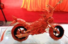 a motorcycle built out of a lobster tail