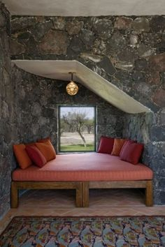 lava rock walls in this massage/yoga room...aaahhhh books, beds, mexico, tiny houses, stone, reading nooks, bedrooms, place, design