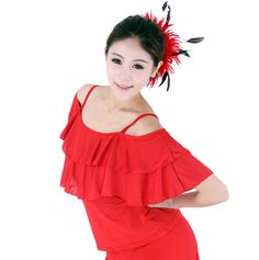 SFT010RD Women Ballroom Smooth Latin Tango Salsa Country Dance Dress Blouse Top #Feier