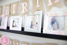Fabric-wrapped picture frames and burlap birthday banner