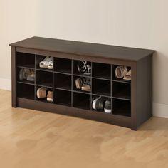 Espresso Shoe Bench  http://www.homeandstuff.com/shoe-cubbie-bench-ESS-4824.html