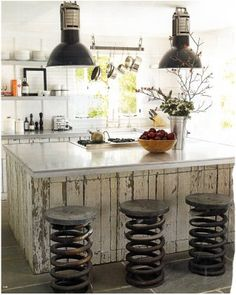 Country Rustic! Love this kitchen! love the stools and the lighting