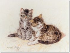 Henriette Ronner Knip - Beatitude 1899 - Cats & Kittens Painting