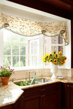 bay window solution: swag valance with  trim