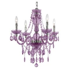 Vogue Mini Chandelier in Purple - great little chandelier for a little girl's room, a nursery, a bathroom, etc...