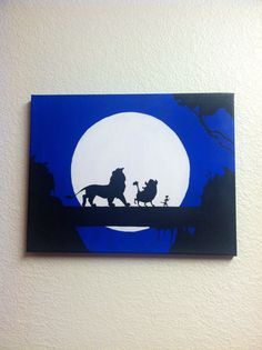Disney Silhouette Painting - The Lion King classic scene, Hakuna Matata (Hand painted, no stencils, custom background colors, made to order) via Etsy