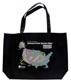 "Show your support for our National Parks and for eco-shopping with this new Sierra Club tote! Featuring a fanciful ""mass-transit"" National Parks map."