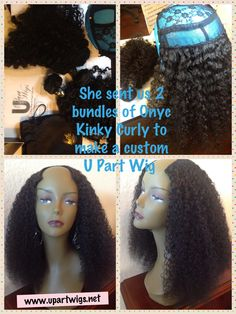 """Our customer sent us 2 bundles of 20"""" Kinky Curly hair and we turned it into a beautiful, ready to wear U Part Wig. #upartwig  www.upartwigs.net fantasi hair, ladi hair, hairnatur hair, kinky curly hair, naturalprotect style, laweava diva, upartwig wwwupartwigsnet"""