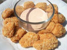 Crispy Buffalo Chicken Bites.  Requires mediastinal cheese puffs