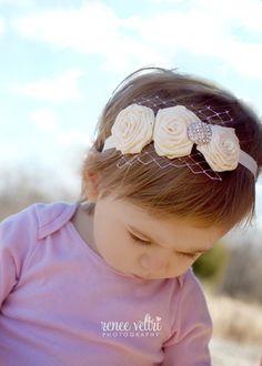 Ivory Satin Rose Headband by prettyandposhbow on Etsy, $14.00