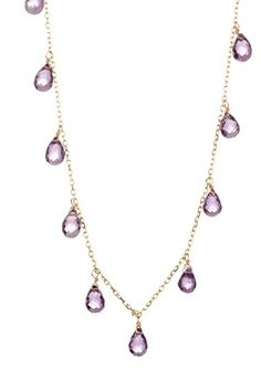 14K Yellow Gold Amethyst Briolette Station Necklace
