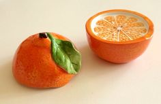 Vintage Succulent Florida Oranges Salt and Pepper Shakers