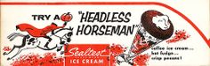 Sealtest Ice Cream Headless Horseman Recipe. #vintage #1950s #Halloween #food #ads