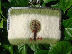 Felted and Needle Felted Small Pouch Clutch by CCKITTENKNITS, $15.50