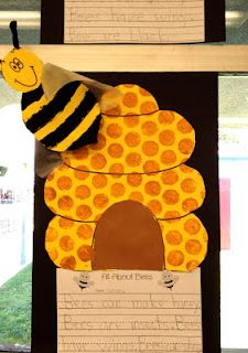 Bee and beehive craft with writing for an insect unit
