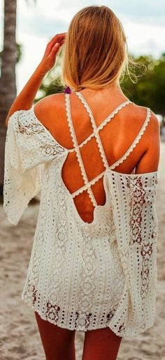 Lovely Lace Cover Up, Hippy Style, Beach or Casual Outfit