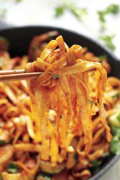 20-minute spicy sriracha shrimp and zucchini lo mein.