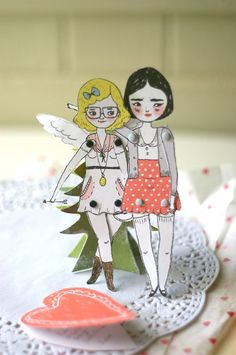 Lili Cupid for Valentines Day, movable paper doll - papercraft kit by Mel Stringer / Girlie Pains