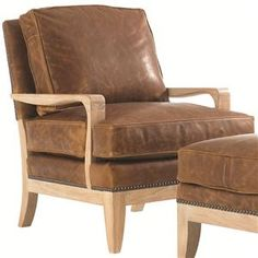 Road To Canberra Collins Park Leather-Upholstered Chair with Exposed Wood & Nailhead Trim Accents by Tommy Bahama Home - Baer's Furniture - Exposed Wood Chair Miami, Ft. Lauderdale, Orlando, Sarasota, Naples, Ft. Myers, Florida