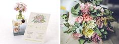 Contemporary floral wedding invitation with matching oversized wedding bouquet