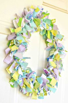 DIY Shabby Chic Fabric Wreath Tutorial - All you need is a coat hanger, fabric, pliers and wire cutters and you're good to go!