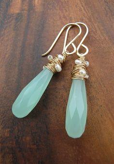 green stone woven pearl earrings
