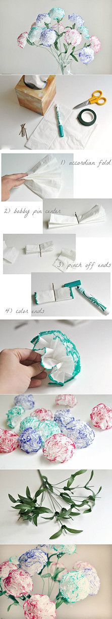 How to make tissue paper carnations. #handmade #flowers #crafts #howto