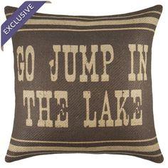 texts, spots, lake houses, handmad burlap, lake pillow