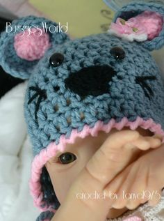 Boutique Crochet Mouse Hat Newborn12 monthgirl by tanya1975, $20.00