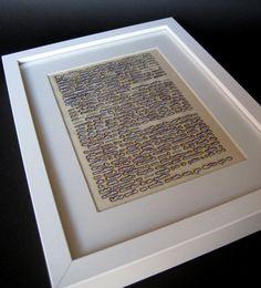 Book Paper Art  - Mixed Media - Burnt paper - Words of Love