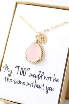 Pink Opal / Gold Bridesmaid Necklace